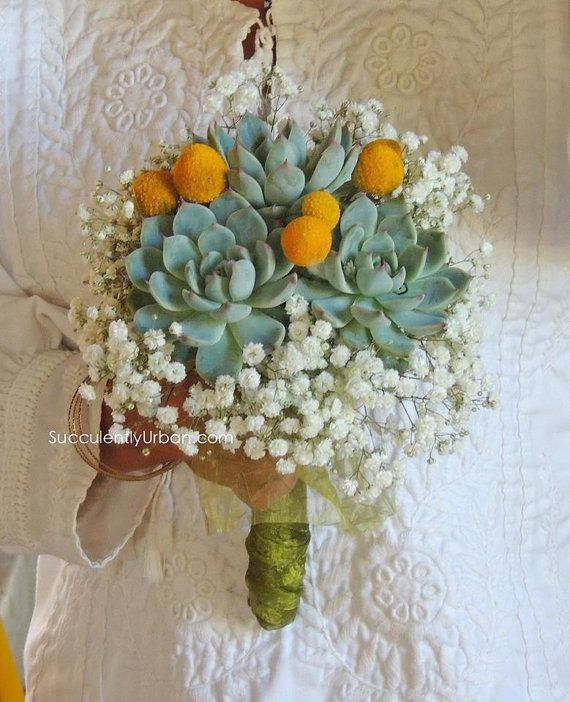This bouquet is made with three premium succulent rosettes, and ...