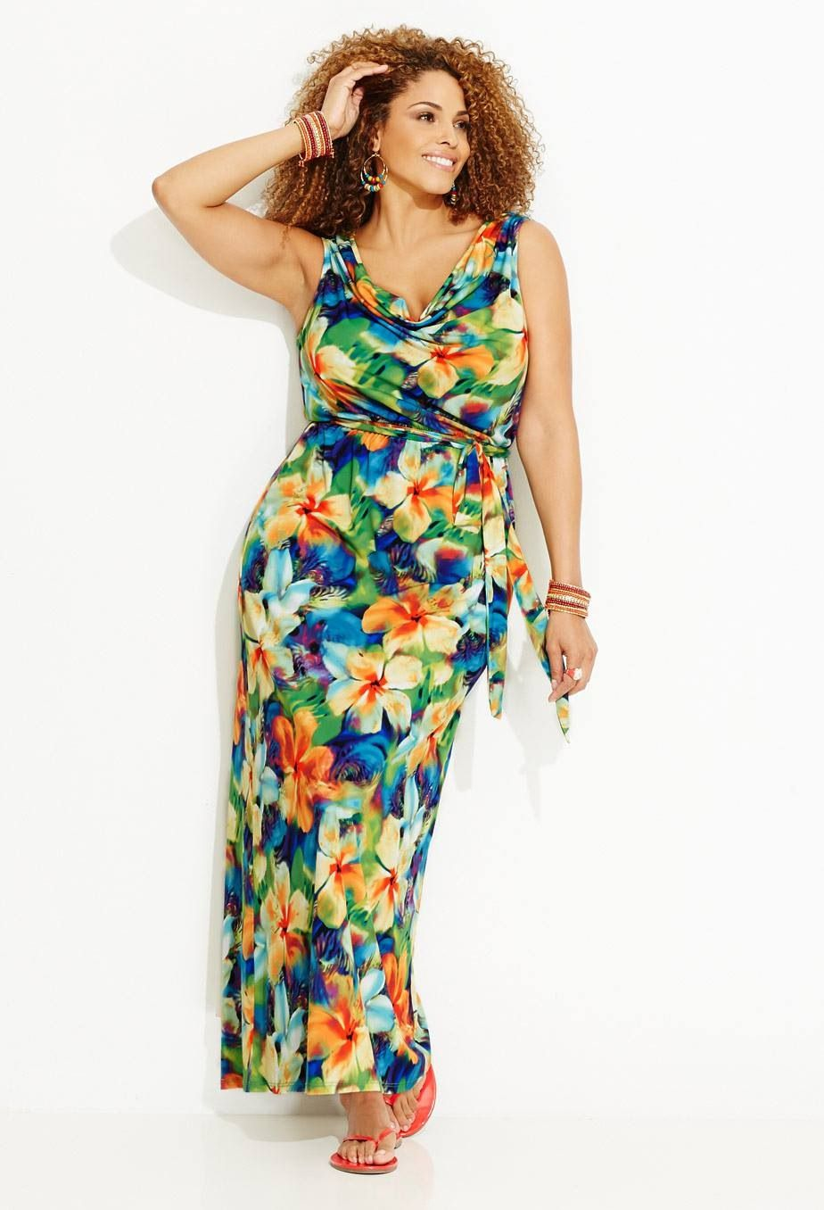 Tropical print drape neck maxi dress | Phat Phashion | Pinterest