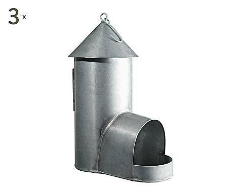 3 Abris pour oiseaux métal, argenté - H30 Idées Jardin Pinterest