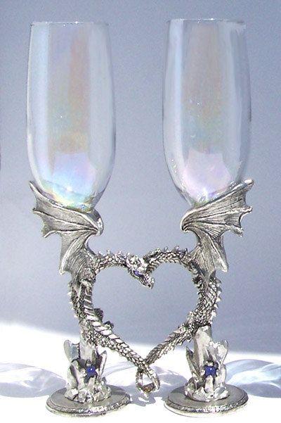 Dragon Heart Pair Toasting Flutes