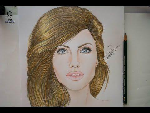 تعلم رسم الفنانة انجلينا جولي How To Draw Angelina Jolie Youtube Drawings Female Sketch Art