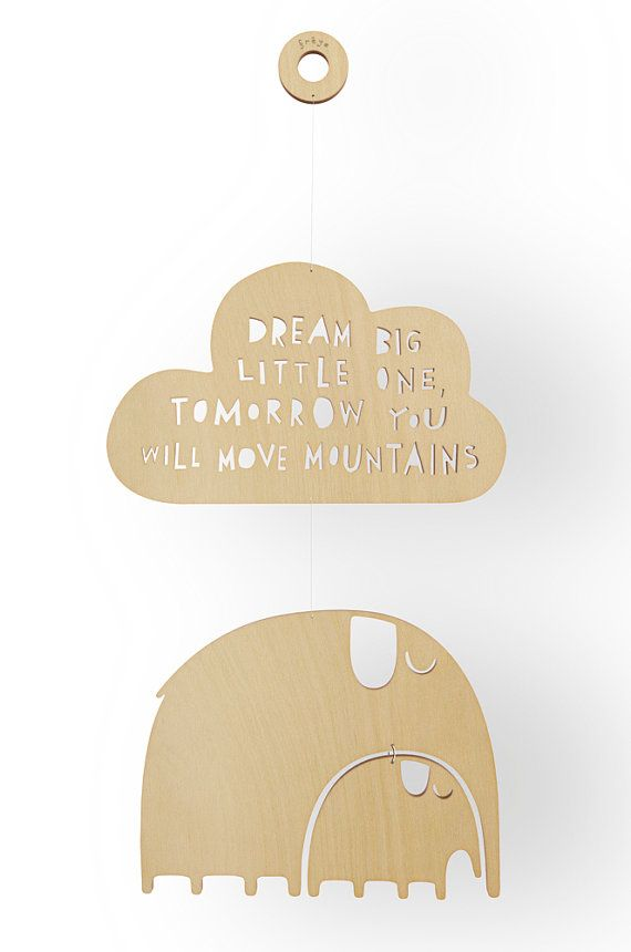 Dream big little one! Elephant Wooden Mobile by FreyaArt on Etsy, $55.00