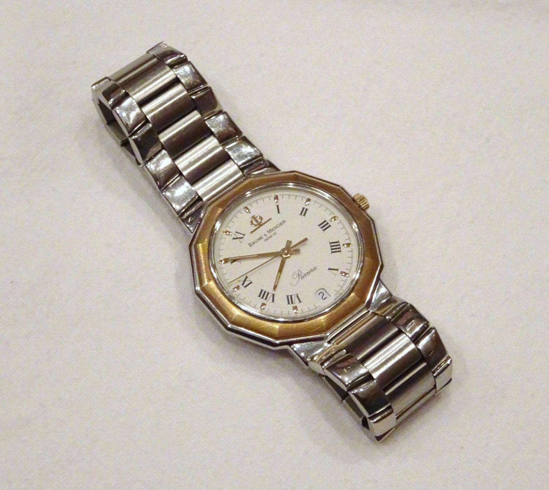 Baume and Mercier Riviera 18K Acier Inox Stainless Steel Watch 5131.3 |  Swiss Watch | Mens