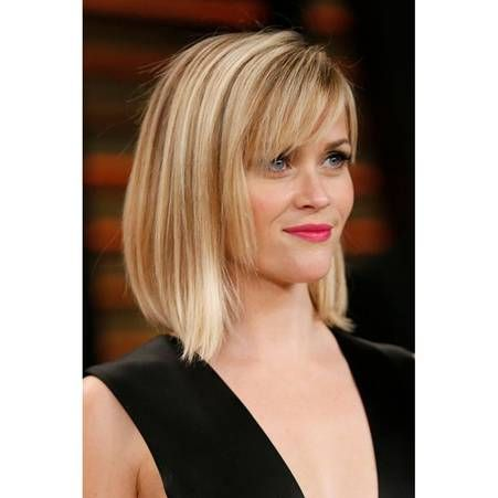 Carre plongeant blond dore | Short hair with bangs, Reese witherspoon hair