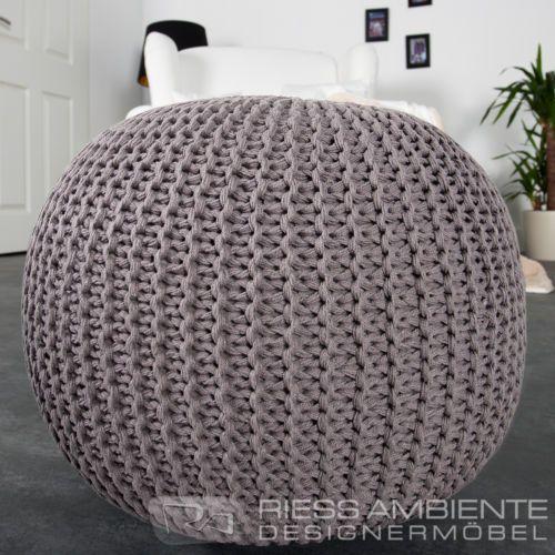 Design Pouf Leeds Aus Strick Farbwahl 50cm Sitzgelegenheit Fussbank