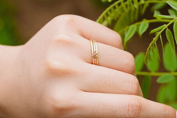 slim hammered stackable ringhammered by LETTERSEARRING on Etsy