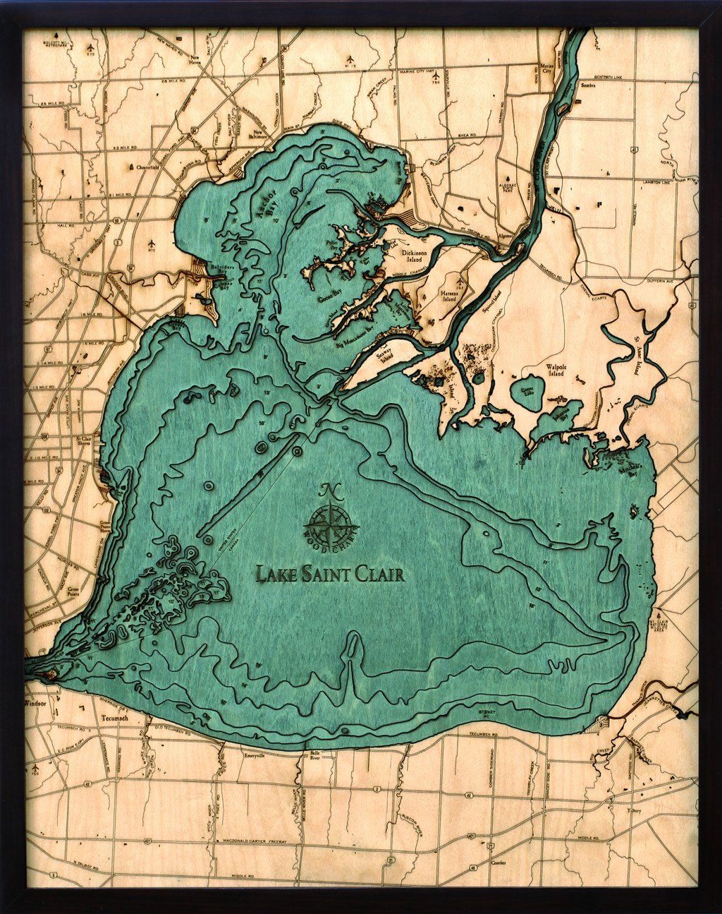 A nautical wood map featuring Lake Saint