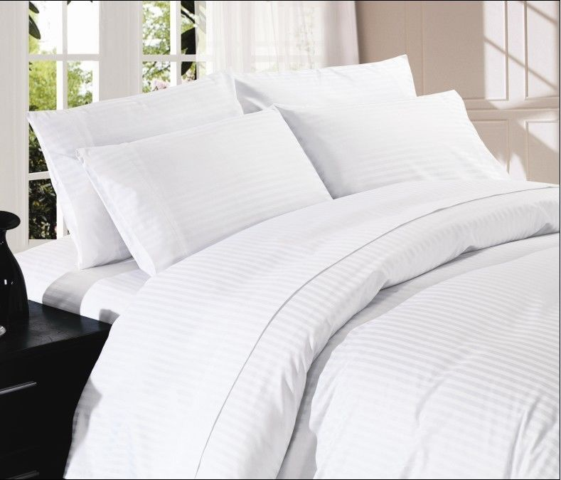 King White Stripe 4pc Sheet Set 1000 Thread Count 100 Egyptian Cotton Striped Bed Sheets Duvet Sets Bed