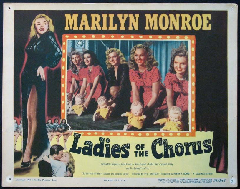 Ladies Of The Chorus Marilyn Monroe Lobby Card For 1952 Re