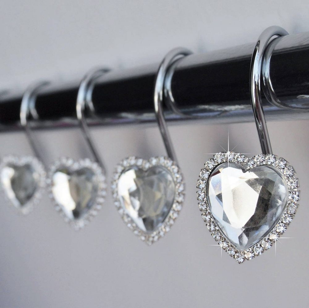 Shower Curtain Hooks Rings Heart Clear Decorative Diamond And