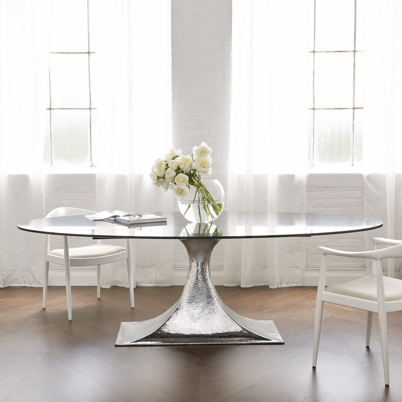 Bungalow 5 Stockholm Oval Dining Table Nickel In 2021 Oval Table Dining Oval Glass Dining Table Metal Base Dining Table
