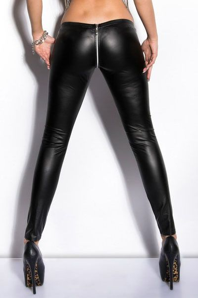 2d5b91ee86610 Wet Look Zippered Leather Leggings Black Skinny Leggings Women Pu Pants  Trousers