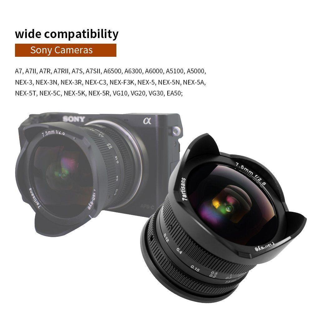 $139.00, 7artisans 7.5mm F2.8 APS-C Fisheye Fixed Lens for Sony ...