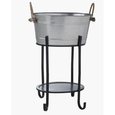 Hampton Bay Oval Beverage Tub in Galvanized Metal with Tray and Stand -DS-23756