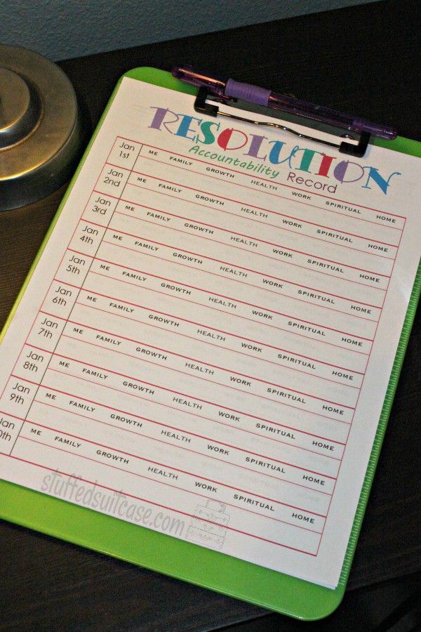 New Years Resolutions Accountability Record Tracker