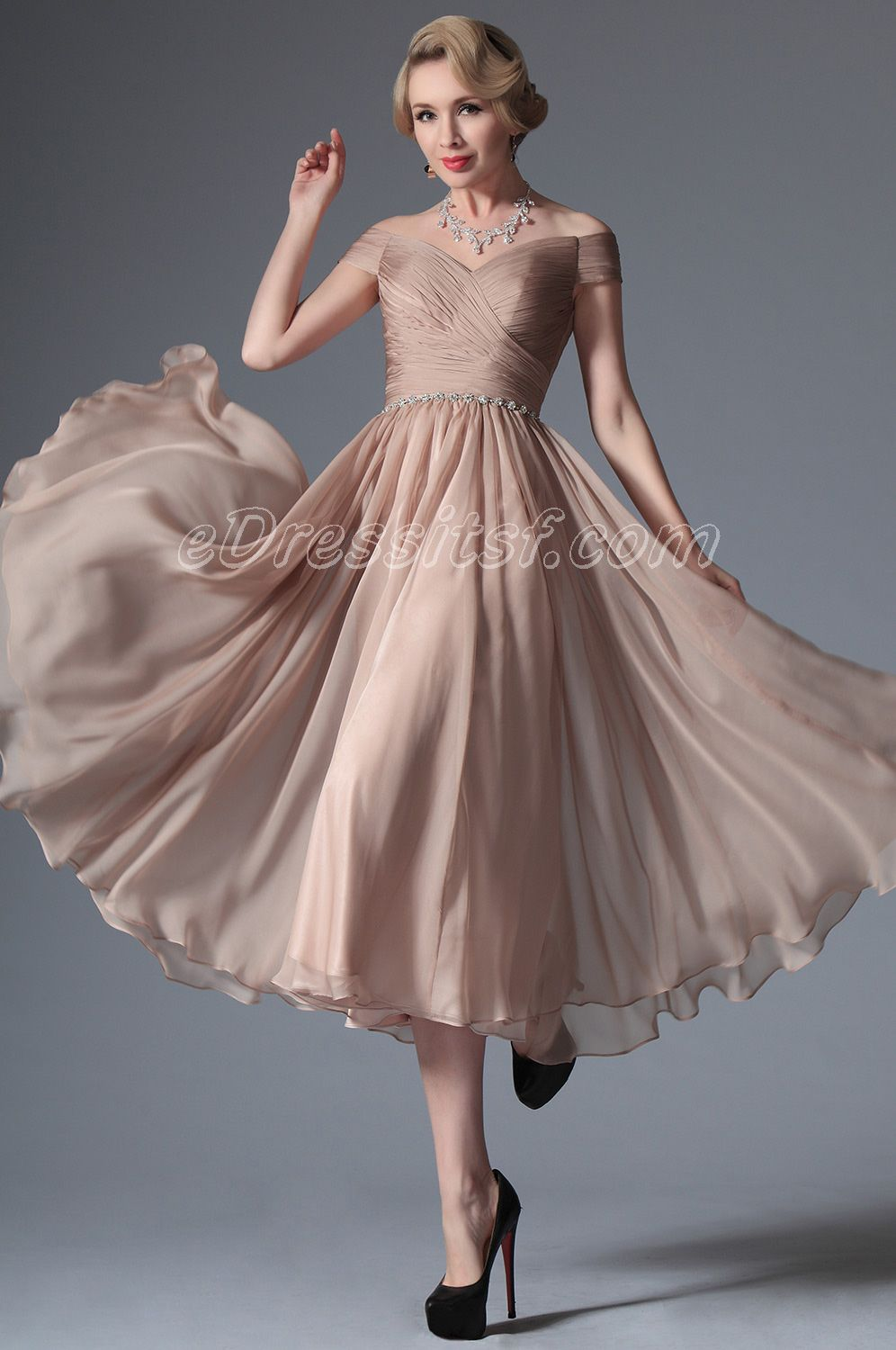 New Rosy Brown Off Shoulder Tea Length Formal Dress | Wedding ...