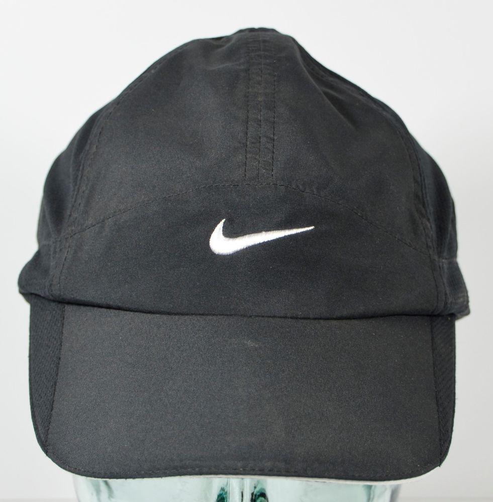 857e9bfb8 Nike Featherlight Dri Fit Black Adjustable Hat White Swoosh Cap ...