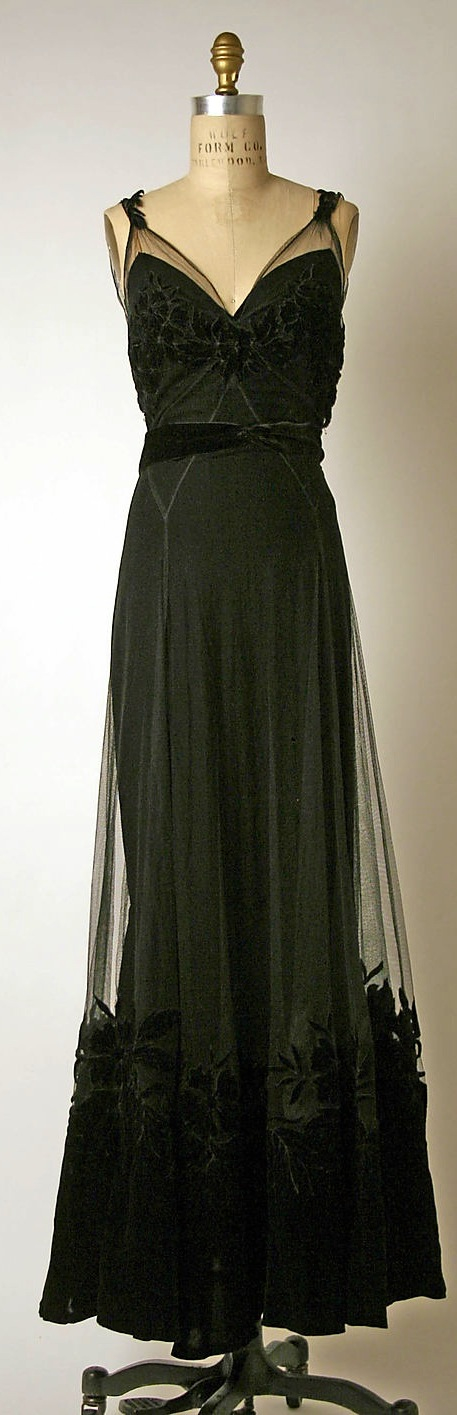House of Dior Designer Christian Dior Circa 1947   Silk Cotton Evening Dress