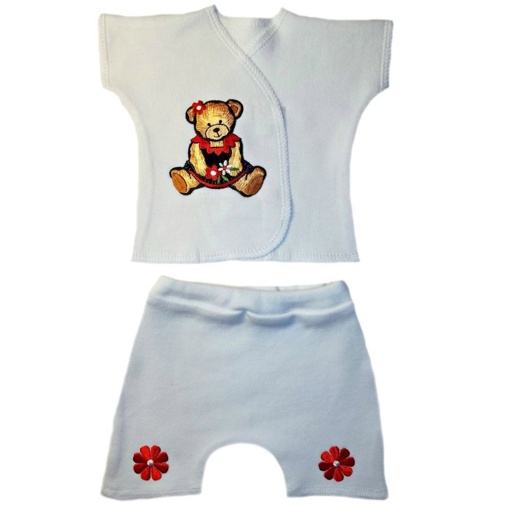 4 Preemie Newborn Sizes Baby Girls/' Pretty Red Roses Pants and Shirt Outfit