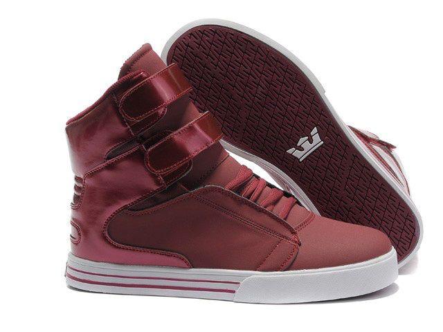 2012 Supra Shoes For Girls TK Society High Tops Dark Red White