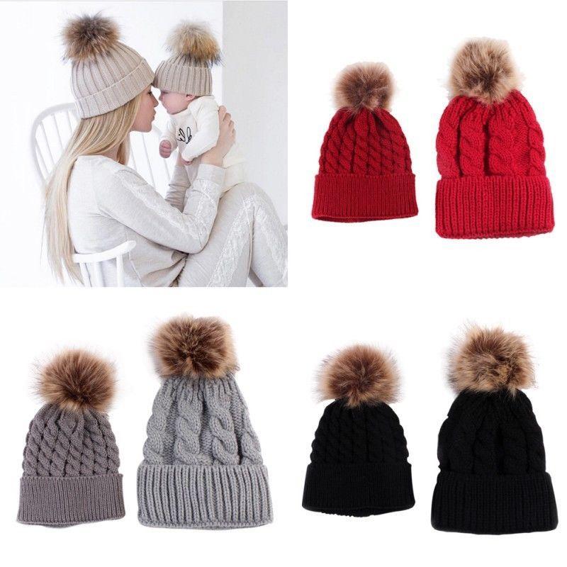 14023b7892b  3.28 - 2Pcs Mother+Baby Knit Pom Bobble Hat Kids Girls Boys Warm Cotton  Big Twist Cap  ebay  Fashion