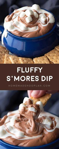 Fluffy S'mores Dip! Fluffy marshmallow and chocolate dips are swirled together to make this easy and fun chilled party dip. No heating or melting required!   HomemadeHooplah.com: