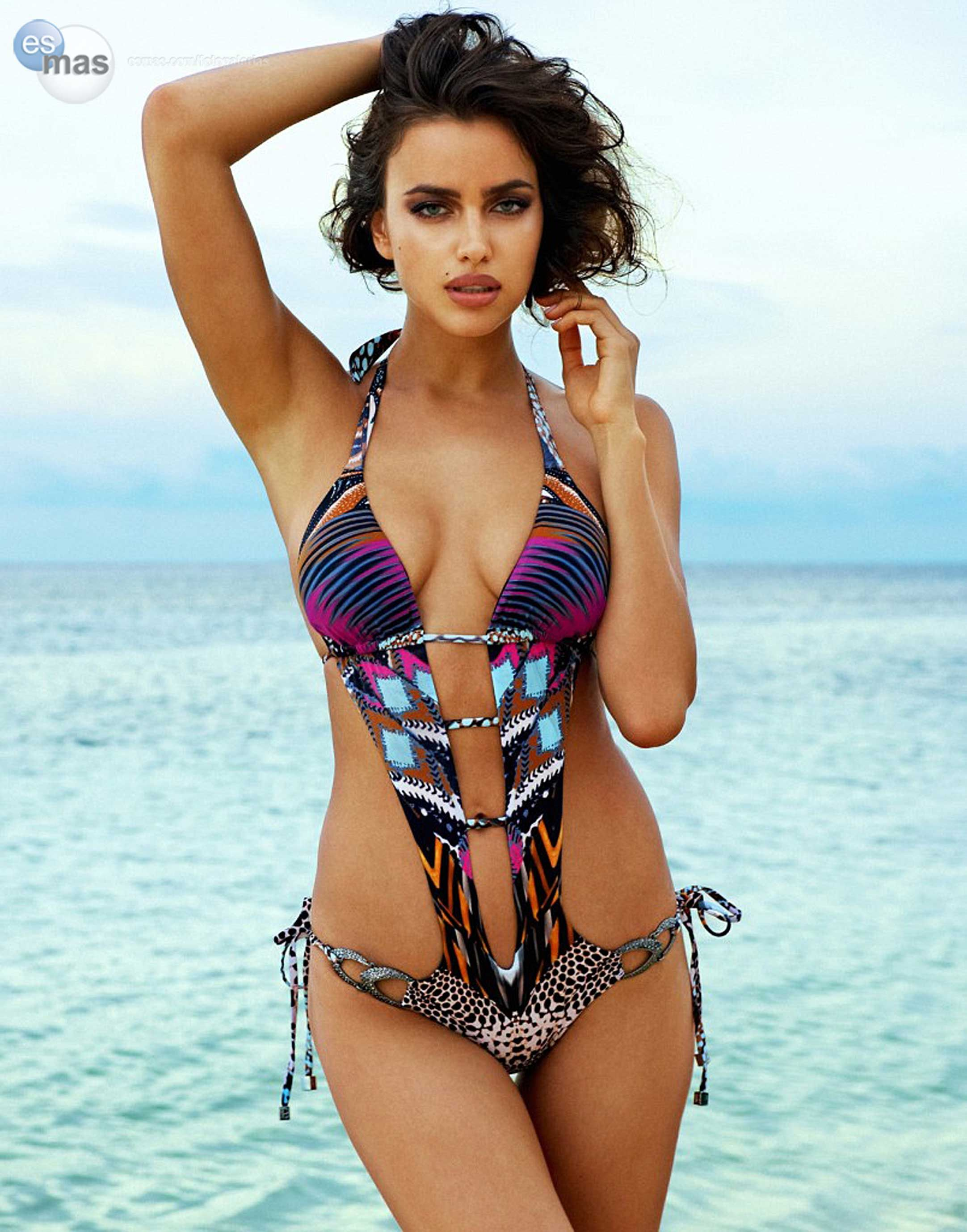 2017 Fashion Women Sexy Hollow Summer Beach Swimsuits Laced Up Print Pool  Party Jumpsuits Bodysuits. IRINA SHAYK 8347f1a49