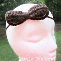 $5.00 ~ Crocheted bow on headband by: Little Bit Lowe on Storenvy