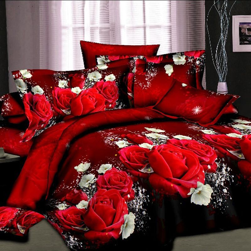 3d Print Red Rose Bedding Set Full King Queen Size 100 Duvet Cover Set 4 Pieces Microfiber Not Include Co Duvet Cover Sets Full Bedding Sets Rose Duvet Cover