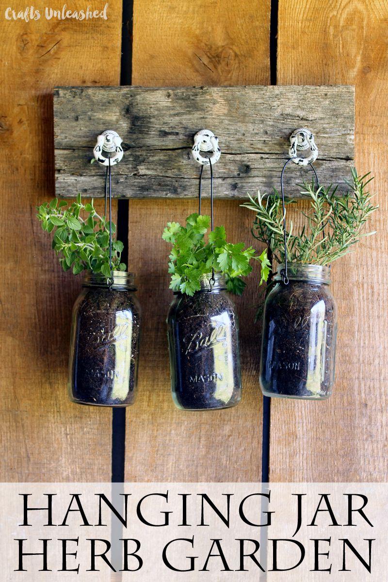 Outdoor Hanging Herb Garden Part - 40: DIY Hanging Garden For Jarred Herbs - Crafts Unleashed