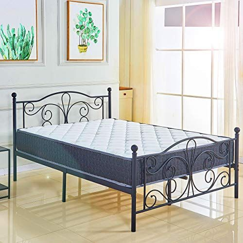 Lenitech Queen Size Metal Bed Platform Frame with ...