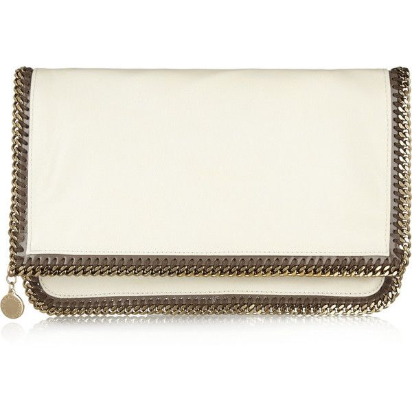 Stella McCartney The Falabella faux brushed-leather clutch found on Polyvore