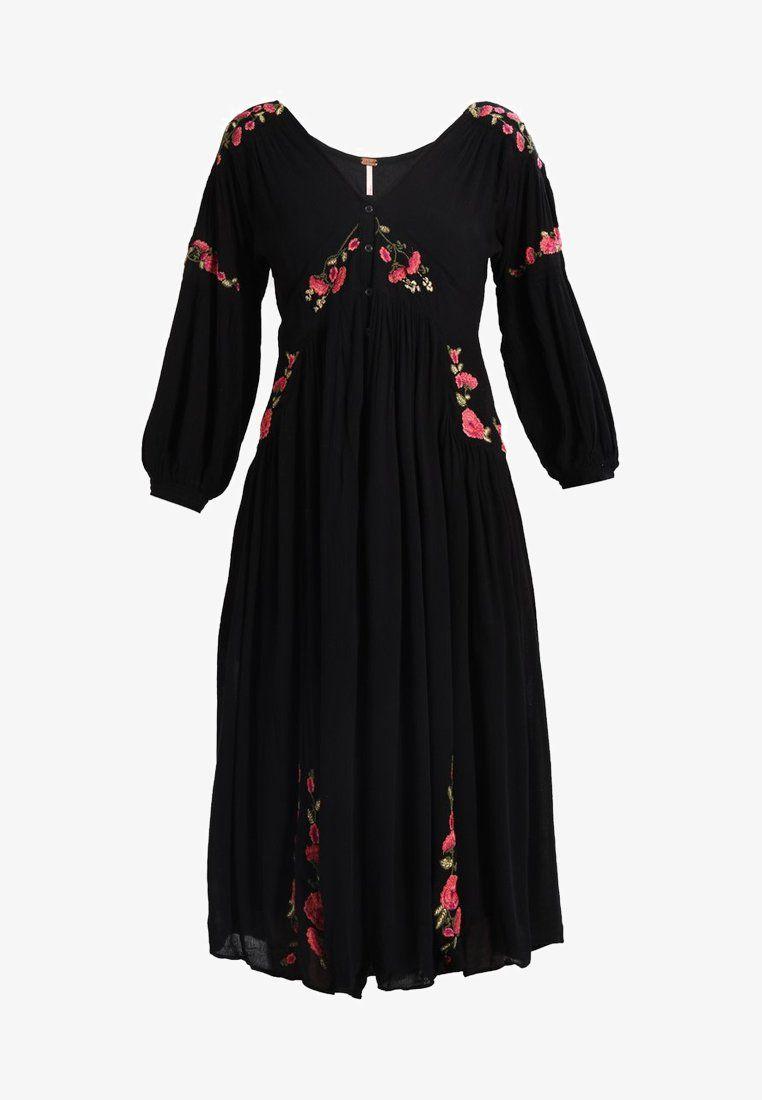 Free People DAY GLOW MIDI - Skjortklänning - black - Zalando.se 51337f5a1b505