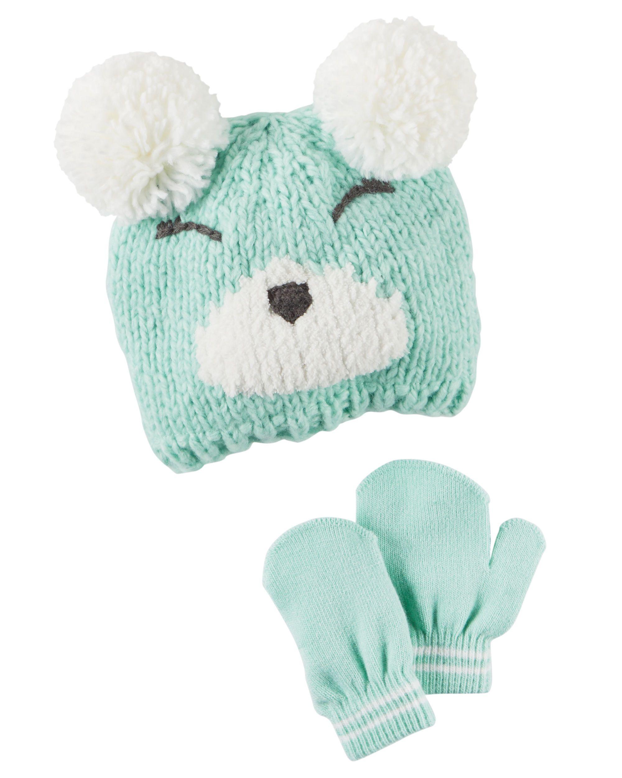 Baby Girl Hat  amp  Mitten Set  f7216059192