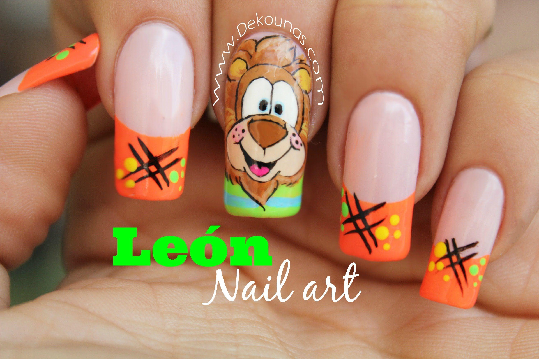 Decoracin De Uas Caricatura Leon Lion Nail Art Nails