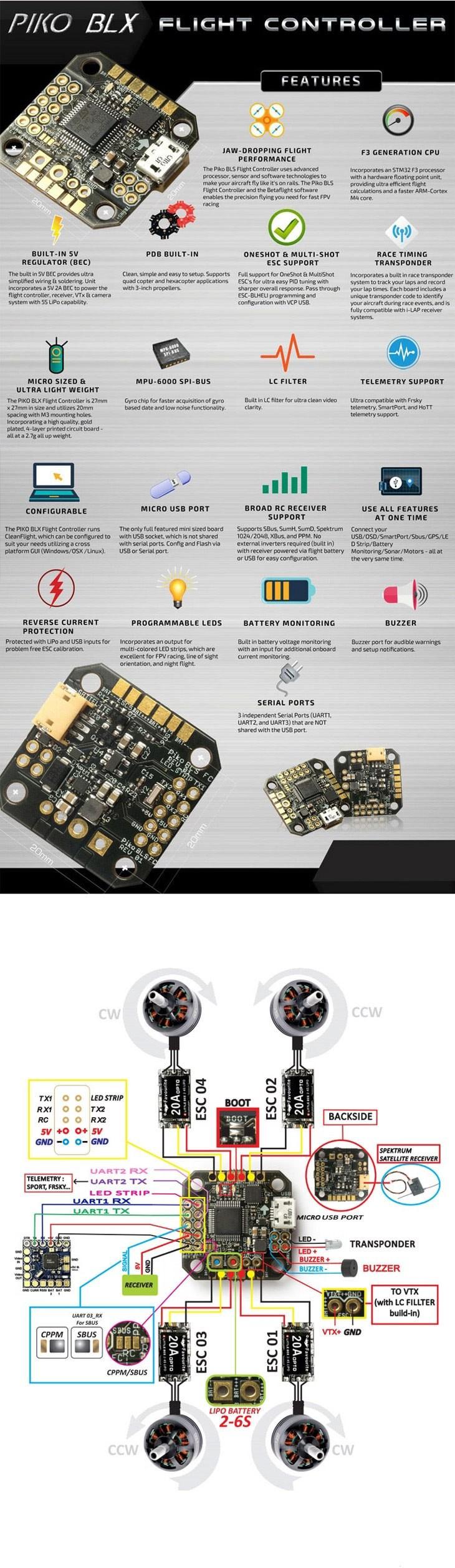 PIKO BLX Betaflight Micro Flight Controller for DIY Indoor Mini ...