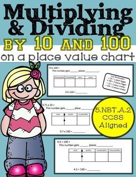 Multiplying And Dividing By Powers Of 10 On A Place Value Chart Lesson Packet Powers Of 10 Place Value Chart Place Values