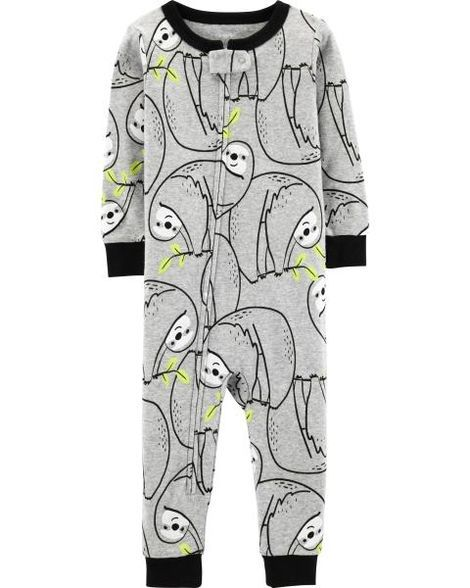 e4bc00088ff0 1-Piece Sloth Snug Fit Cotton Footless PJs in 2019