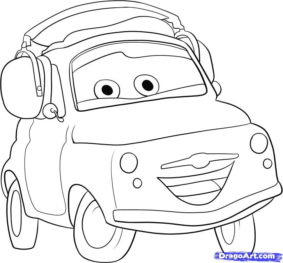 how to draw mater from cars step by step