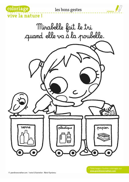 mirabelle fait le tri quand elle va la poubelle dessins anim s coloriages pinterest. Black Bedroom Furniture Sets. Home Design Ideas