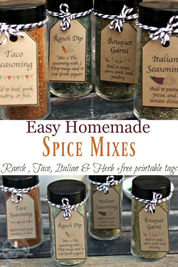 Homemade Spice Mixes and Herb Blends + Free Printable Tags
