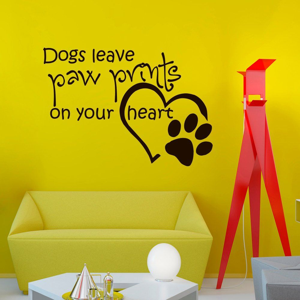 Wall Decals Quotes About Dog Dogs Leave Paw Prints on Your Heart ...