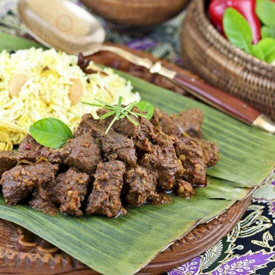 Beef Rendang, an aromatic caramelized beef curry traditionally served during festival occasion.