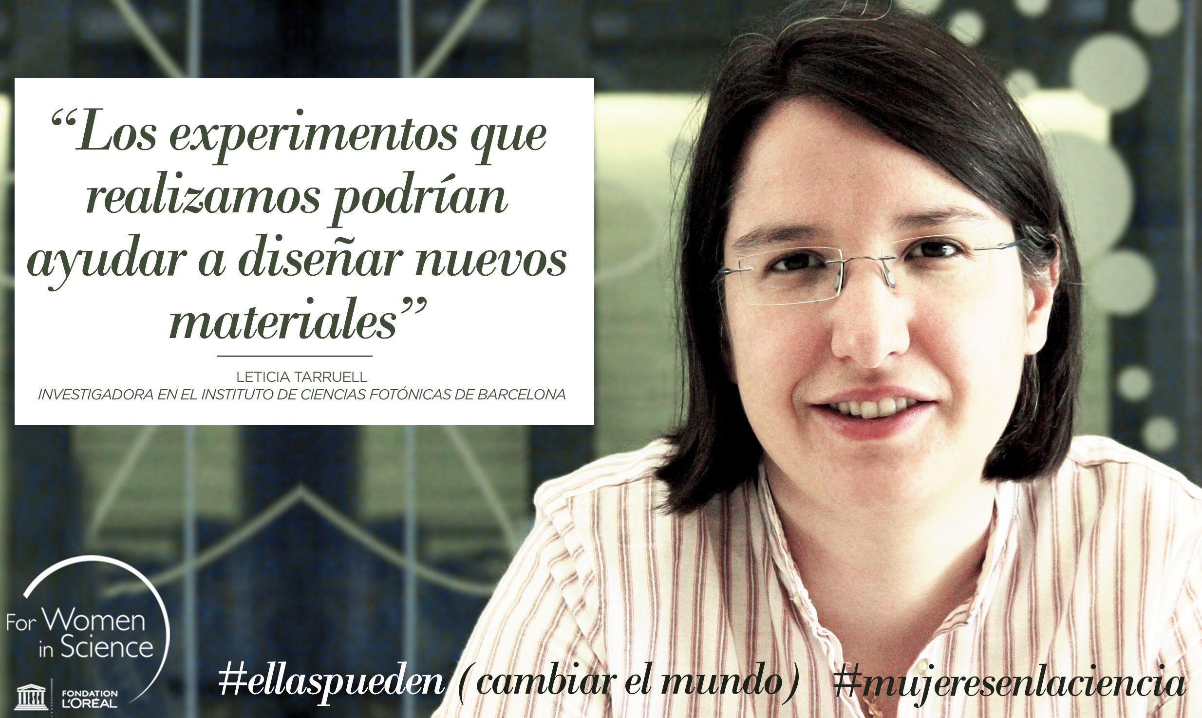 Leticia Tarruell, becada L'Oréal-UNESCO For Women in Science. Ha realizado el primer experimento en España para la creación de materiales artificiales utilizando el gas de átomos ultrafríos. #ellaspueden (cambiar el mundo).