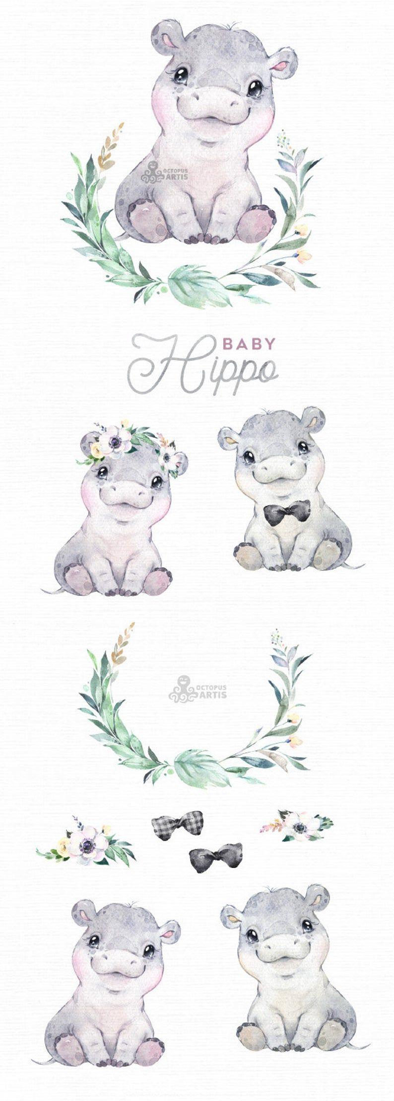 Baby Hippo. Watercolor little animal clipart, babies, flowers, safari, digital, Africa, wreath, cute, nursery art, baby-shower, boy, girl
