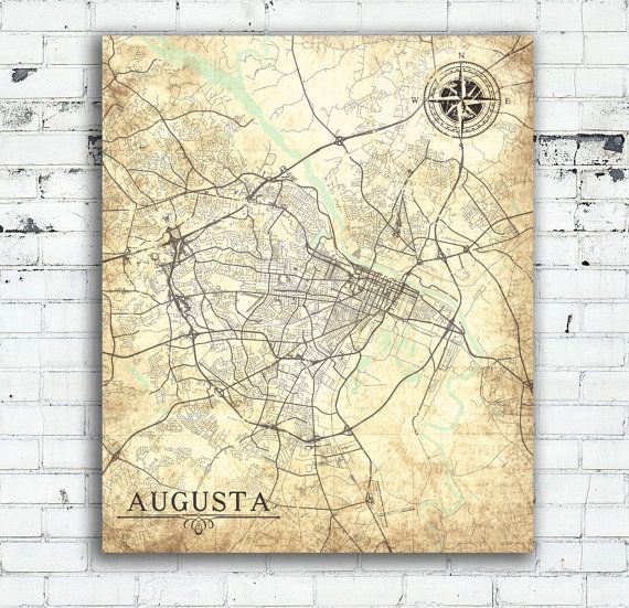 AUGUSTA GA Canvas Print Georgia Vintage Map Augusta City Map - Map of richmond county ga