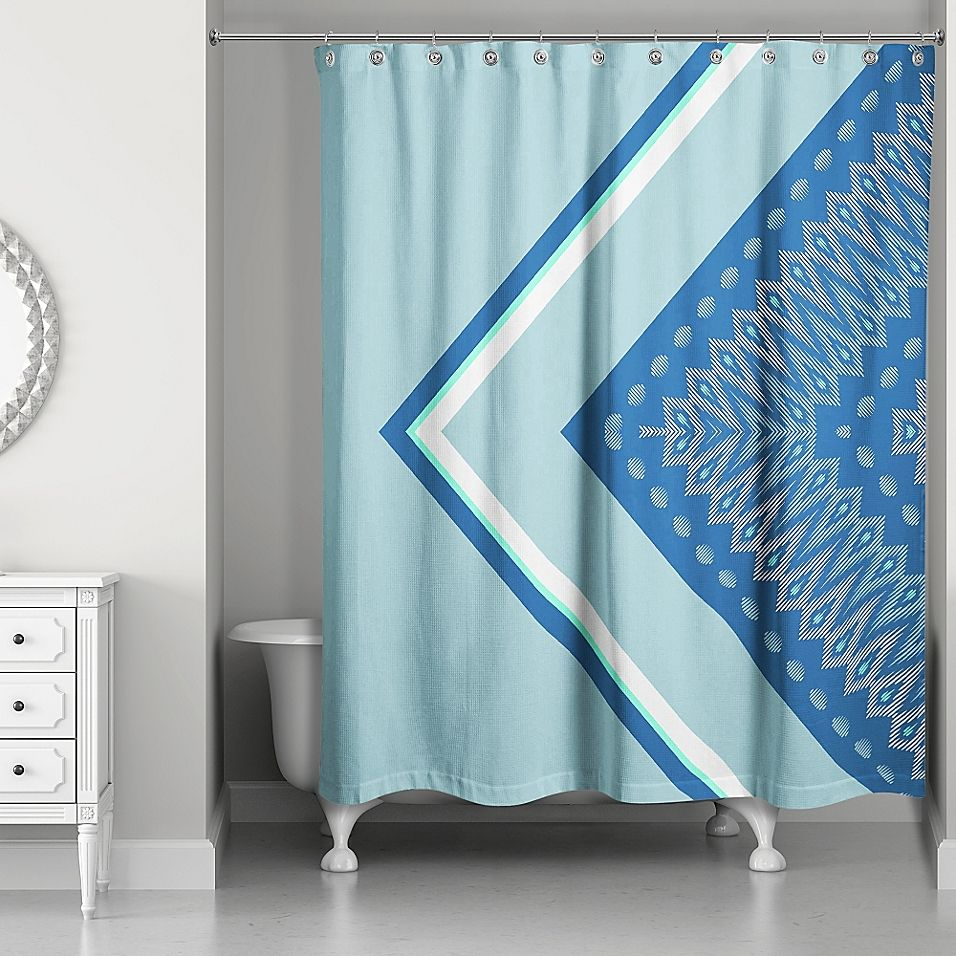 Side Angles Boho Tribal Shower Curtain In Blue Curtains Diy
