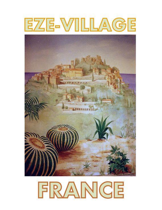 French Riviera Côte d/'Azur Sunhat Vintage Airline Travel Art Poster Print