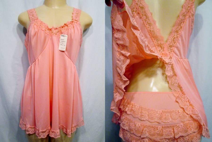 Shadowline  Peach Nylon Lace Babydoll Pajamas from the 60's.  Found it on Ebay.
