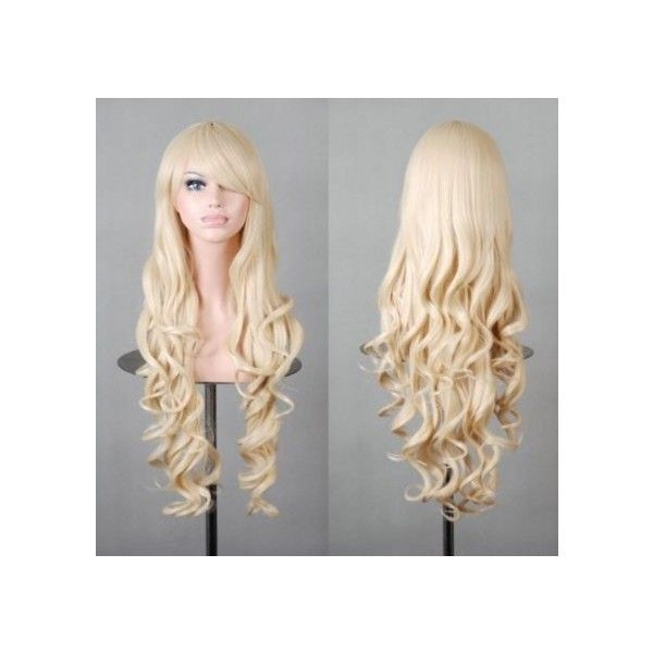 32 80cm Long Hair Heat Resistant Spiral Curly Cosplay Wig Light Blonde
